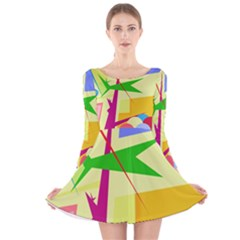 Colorful abstract art Long Sleeve Velvet Skater Dress