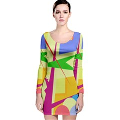 Colorful abstract art Long Sleeve Velvet Bodycon Dress