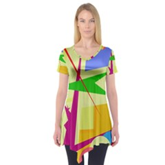 Colorful abstract art Short Sleeve Tunic