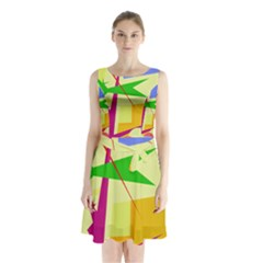 Colorful Abstract Art Sleeveless Chiffon Waist Tie Dress