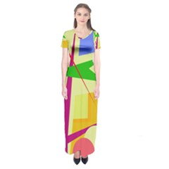 Colorful abstract art Short Sleeve Maxi Dress