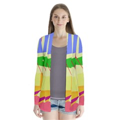 Colorful abstract art Drape Collar Cardigan