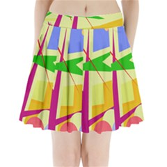 Colorful Abstract Art Pleated Mini Skirt