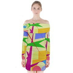 Colorful abstract art Long Sleeve Off Shoulder Dress