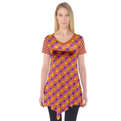 Vibrant Retro Diamond Pattern Short Sleeve Tunic