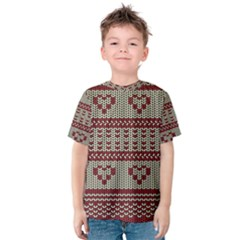 Stitched Seamless Pattern With Silhouette Of Heart Kids  Cotton Tee