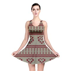 Stitched Seamless Pattern With Silhouette Of Heart Reversible Skater Dress