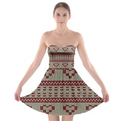 Stitched Seamless Pattern With Silhouette Of Heart Strapless Bra Top Dress
