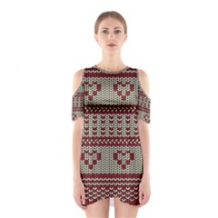 Stitched Seamless Pattern With Silhouette Of Heart Cutout Shoulder Dress
