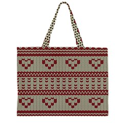 Stitched Seamless Pattern With Silhouette Of Heart Large Tote Bag
