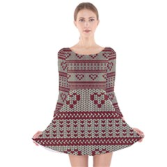 Stitched Seamless Pattern With Silhouette Of Heart Long Sleeve Velvet Skater Dress