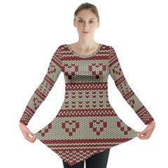 Stitched Seamless Pattern With Silhouette Of Heart Long Sleeve Tunic