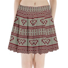 Stitched Seamless Pattern With Silhouette Of Heart Pleated Mini Skirt