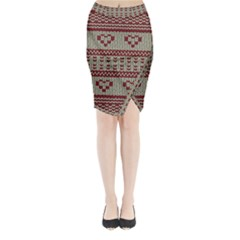 Stitched Seamless Pattern With Silhouette Of Heart Midi Wrap Pencil Skirt
