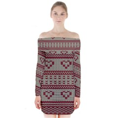Stitched Seamless Pattern With Silhouette Of Heart Long Sleeve Off Shoulder Dress