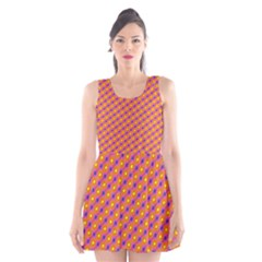 Vibrant Retro Diamond Pattern Scoop Neck Skater Dress