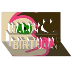 Dog face Happy Birthday 3D Greeting Card (8x4)