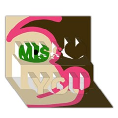 Dog face Miss You 3D Greeting Card (7x5)