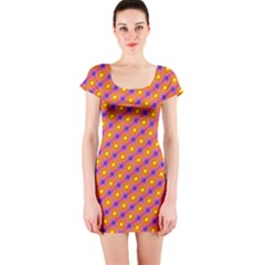 Vibrant Retro Diamond Pattern Short Sleeve Bodycon Dress