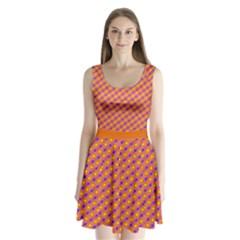 Vibrant Retro Diamond Pattern Split Back Mini Dress