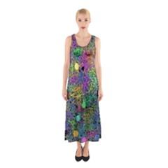 Starbursts Biploar Spring Colors Nature Sleeveless Maxi Dress