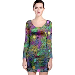 Starbursts Biploar Spring Colors Nature Long Sleeve Bodycon Dress