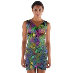 Starbursts Biploar Spring Colors Nature Wrap Front Bodycon Dress