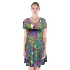 Starbursts Biploar Spring Colors Nature Short Sleeve V-neck Flare Dress