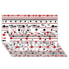Dots and lines Best Wish 3D Greeting Card (8x4)