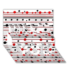 Dots and lines Miss You 3D Greeting Card (7x5)
