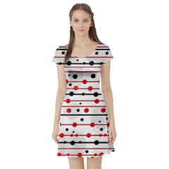Dots and lines Short Sleeve Skater Dress