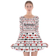 Dots and lines Long Sleeve Skater Dress