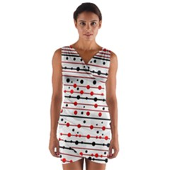 Dots and lines Wrap Front Bodycon Dress