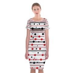 Dots and lines Classic Short Sleeve Midi Dress