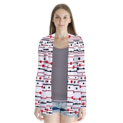 Dots and lines Drape Collar Cardigan
