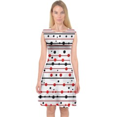 Dots And Lines Capsleeve Midi Dress