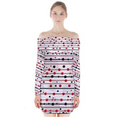 Dots And Lines Long Sleeve Off Shoulder Dress