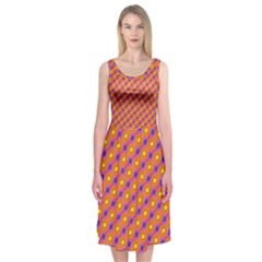 Vibrant Retro Diamond Pattern Midi Sleeveless Dress