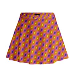 Vibrant Retro Diamond Pattern Mini Flare Skirt
