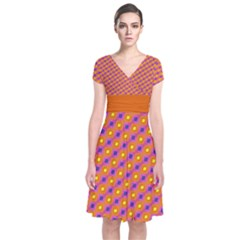 Vibrant Retro Diamond Pattern Short Sleeve Front Wrap Dress