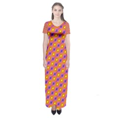Vibrant Retro Diamond Pattern Short Sleeve Maxi Dress