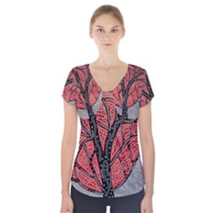 Decorative Tree 1 Short Sleeve Front Detail Top