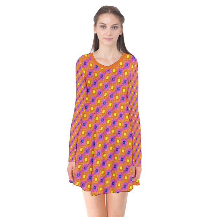 Vibrant Retro Diamond Pattern Long Sleeve V-neck Flare Dress