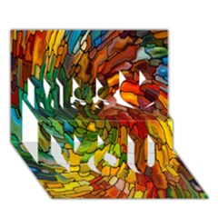 Stained Glass Patterns Colorful Miss You 3D Greeting Card (7x5)