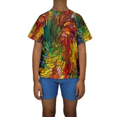 Stained Glass Patterns Colorful Kids  Short Sleeve Swimwear