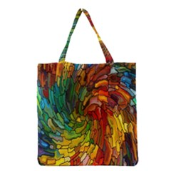 Stained Glass Patterns Colorful Grocery Tote Bag