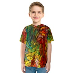 Stained Glass Patterns Colorful Kids  Sport Mesh Tee