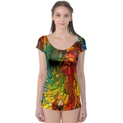 Stained Glass Patterns Colorful Boyleg Leotard