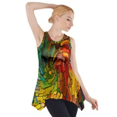 Stained Glass Patterns Colorful Side Drop Tank Tunic