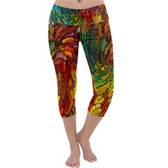 Stained Glass Patterns Colorful Capri Yoga Leggings